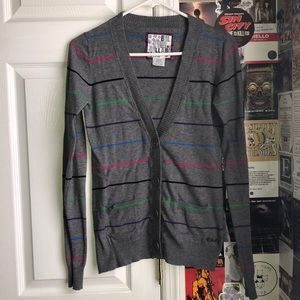Grey and Multi-Colored Striped Billabong Cardigan